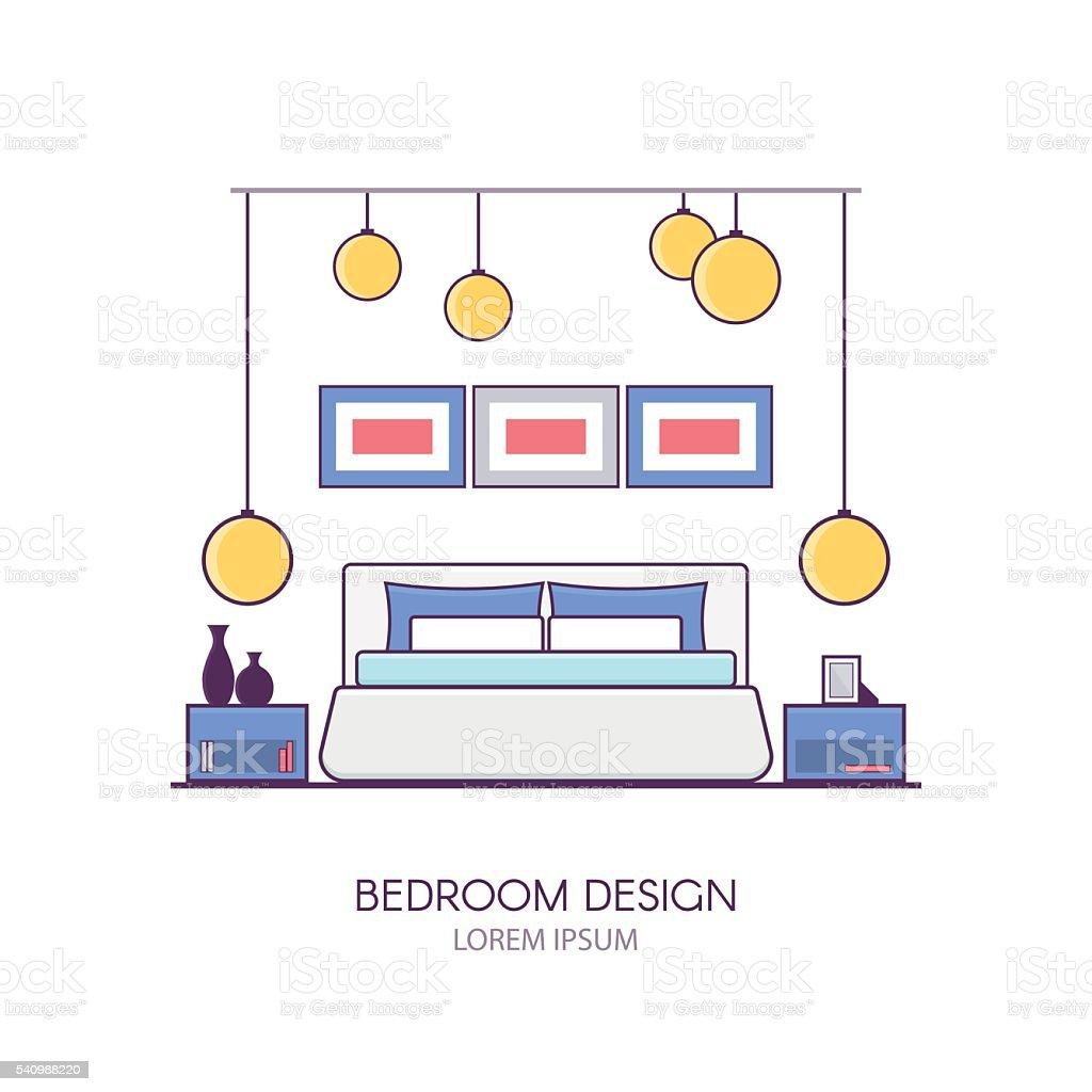 Moderne Schlafzimmer Innenarchitektur In Linearen Flachen Stil Stock ...