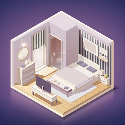 Modern bedroom interior with furniture  in isometric style