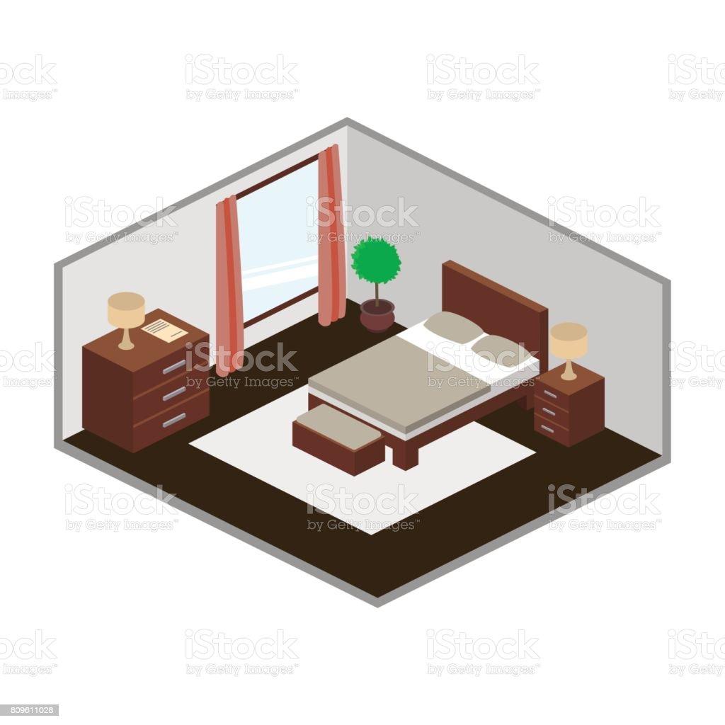 Modern bedroom isometry vector vector art illustration