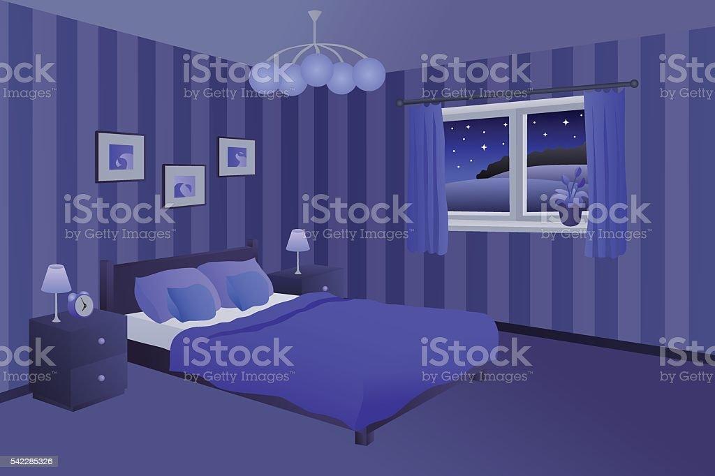 Camera Da Letto Moderna Blu Notte Letto Finestra Illustrazione ...
