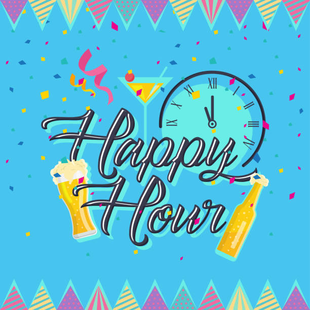 modern beer happy hour card illustration - happy hour stock illustrations, clip art, cartoons, & icons