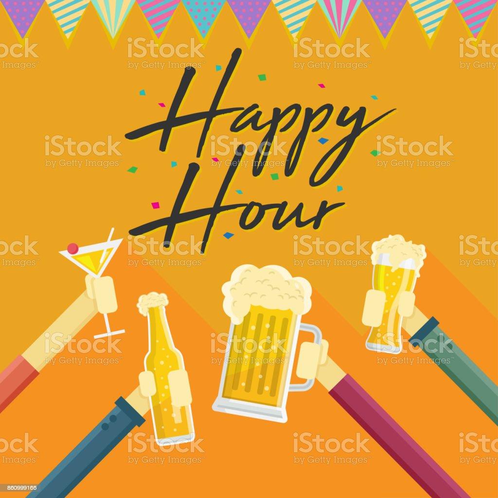 Modern Beer Happy Hour Card Illustration vector art illustration
