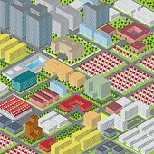 Modern big city, colorful vector graphic