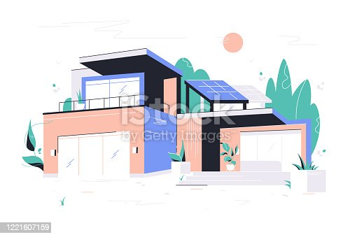 istock Modern big house with garage, balcony and roof solar panel. 1221607159