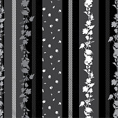 Modern black and grey Seamless pattern with delicate Floral  with stripes amd pattern small flowers mixed wallpaper.