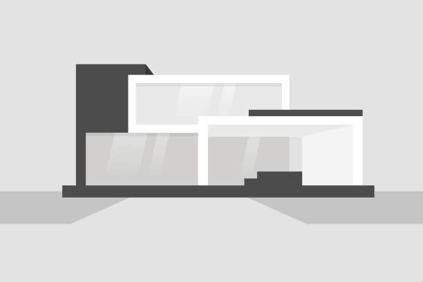 moderne schwarze und weiße wohnhaus. einfache formen. keine menschen. fassade. flach bearbeitbares vektor-illustration, clipart - büro zukunft und niemand stock-grafiken, -clipart, -cartoons und -symbole