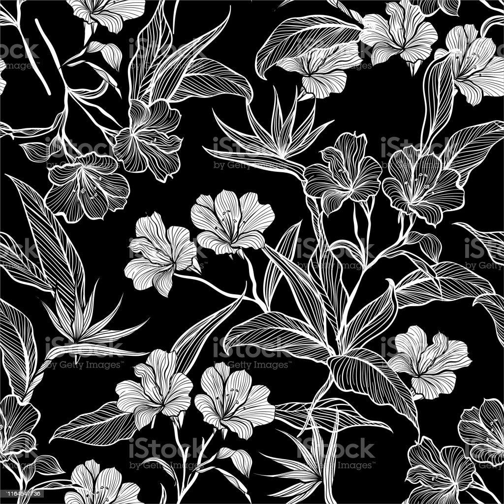 Moderne Schwarz Und Weiss Nahtlose Muster Linie Botanische
