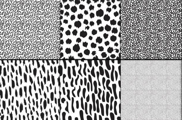 moderne schwarze und weiße nahtloser vektor abstrakten hintergrund - hundehaarbögen stock-grafiken, -clipart, -cartoons und -symbole