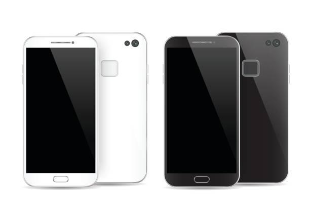 Smartphone blanco y negro moderno aislado. Frente y parte posterior de la ilustración de Vector smartphone. Ver maqueta del teléfono celular nuevo. - ilustración de arte vectorial