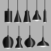 Modern black ceiling lamp set vector realistic illustration