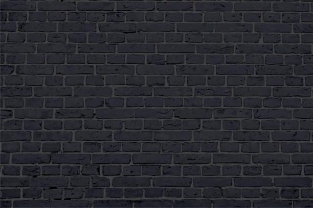stockillustraties, clipart, cartoons en iconen met moderne zwart gekleurde baksteen patroon muur textuur grunge achtergrond vector illustratie - versterkte muur