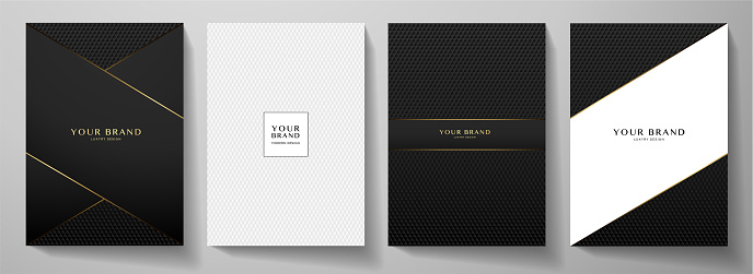 Modern black cover design set. Creative abstract with diagonal line, carbon pattern (triangle texture) on background