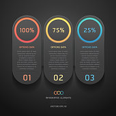 Modern black infographics banner. can be used for workflow layout, diagram, step options, number options, web design template.
