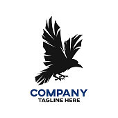 Modern black raven logo