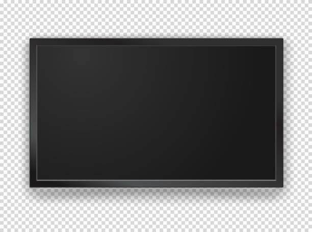 moderne tv in schwarz mit leeren bildschirm vektor mock-up. 1920 auf 1080 hd anteil bildschirm. vector-objekt auf transparenten hintergrund isoliert - bildschirme stock-grafiken, -clipart, -cartoons und -symbole