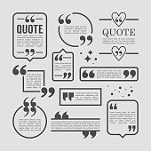 Modern block quote and pull quote line frame design elements