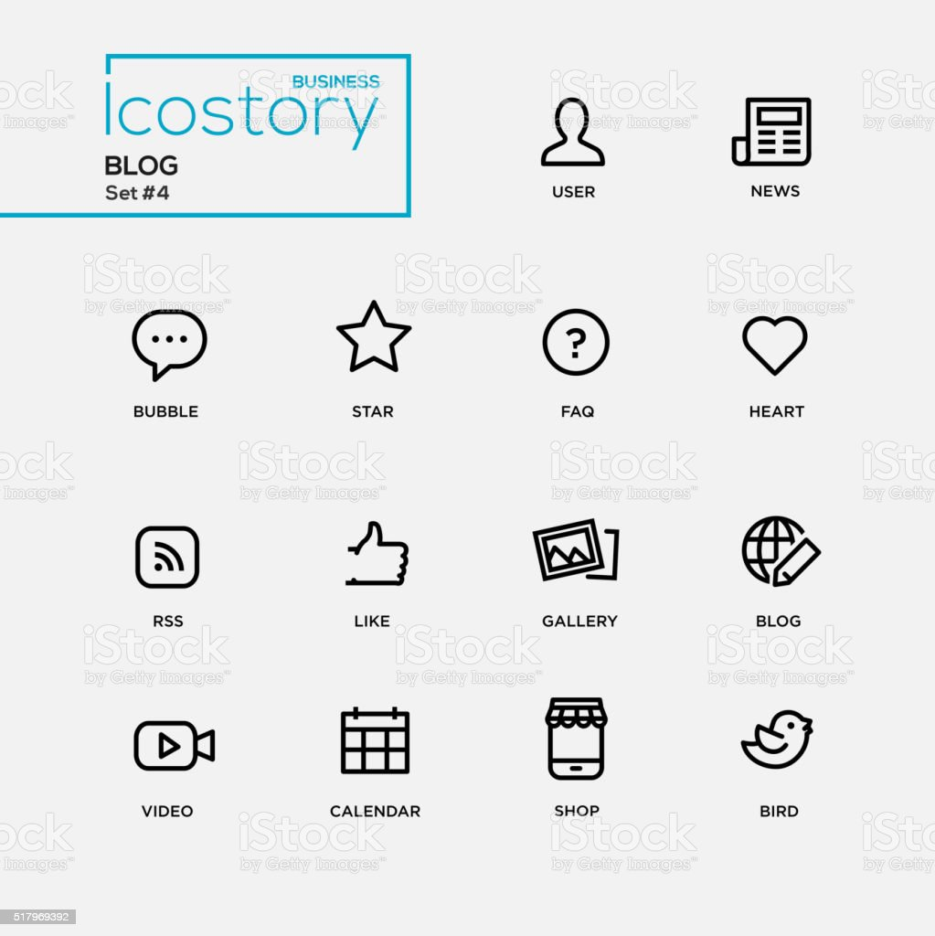 Modern blog simple thin line design icons, pictograms set vector art illustration