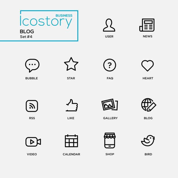 simple ligne mince moderne de blog icônes, des pictogrammes ensemble - Illustration vectorielle