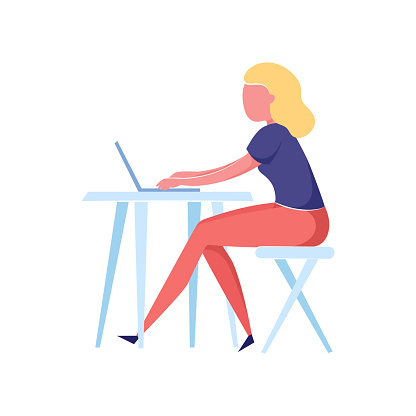 Modern blonde hair woman working on laptop at kitchen table at wood chair. Flat style. Vector illustration on white background