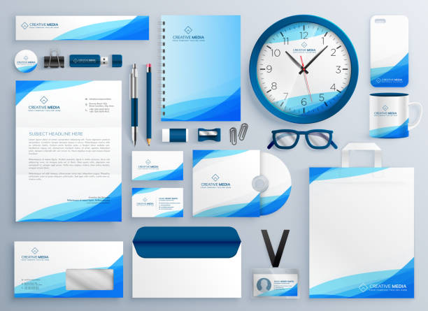 modern blue business stationery vector template set - stationery templates stock illustrations