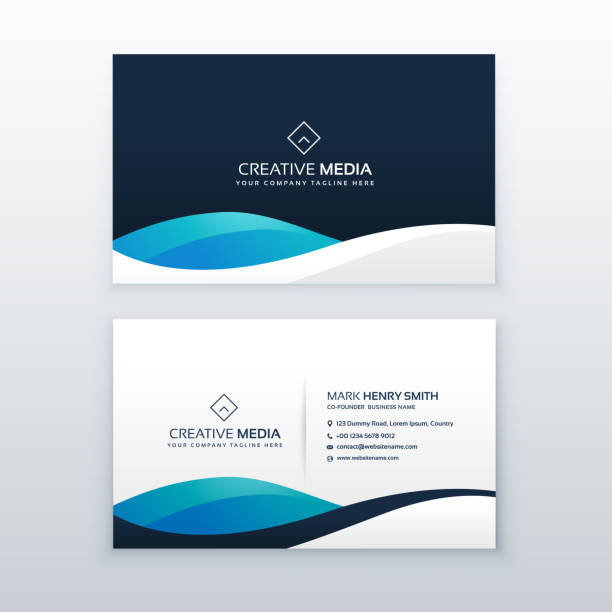 modern blue creative business card design - business cards templates stock illustrations