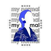 Modern blue face girl with slogan. Typography graphic print, fashion drawing for t shirt
