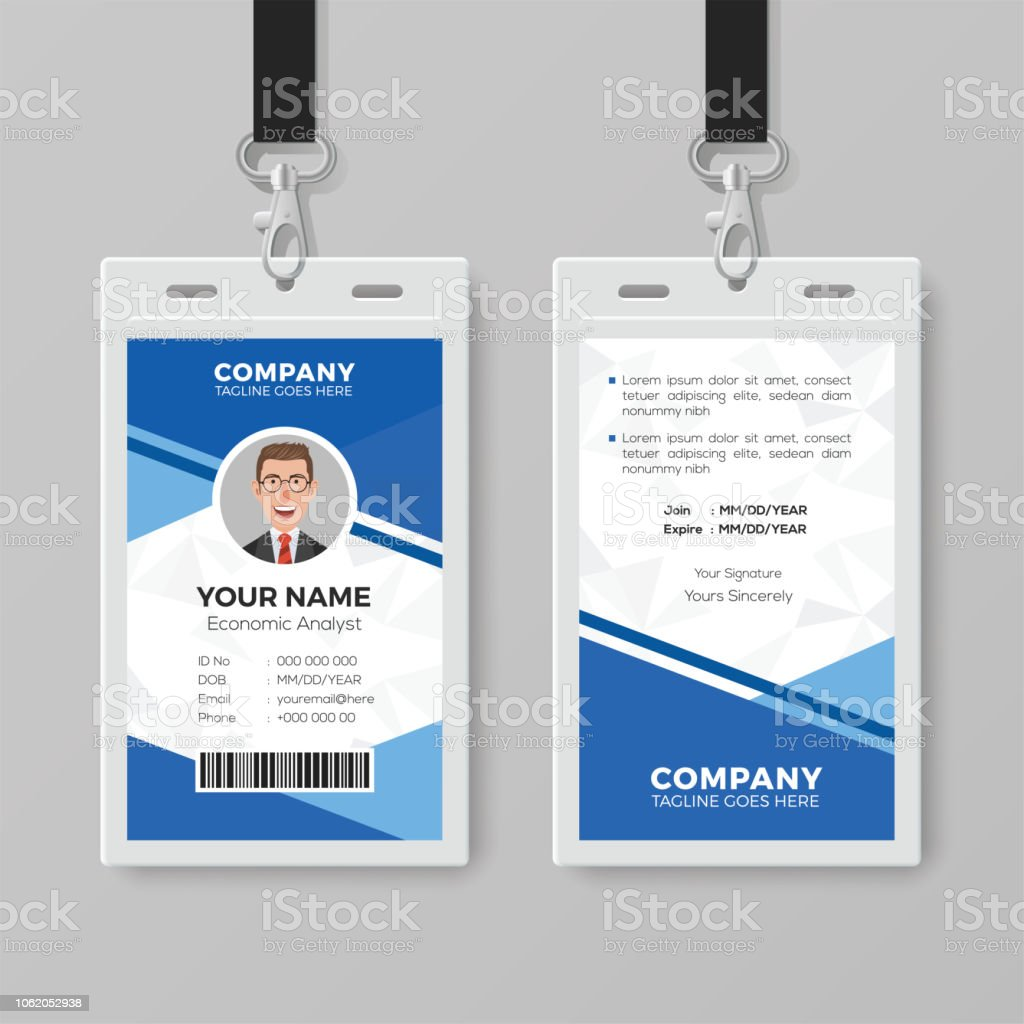 Modern Blue Id Card Design Template Stock Illustration - Download Throughout Company Id Card Design Template