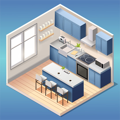 Modern blue kitchen room interior with furniture and household appliances in isometric style