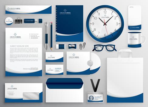 modern blue professional business stationery set