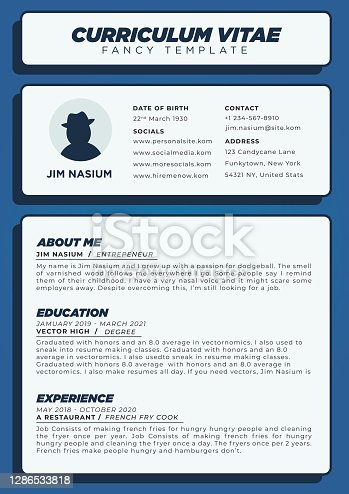 Modern Blue Resume or Curriculum Vitae Template in Creative and Unique Style