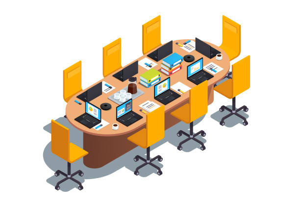 Modern boardroom interior design with big table, chairs and laptop computer. Conference hall or meeting room decoration & furniture. Flat isometric pseudo 3d vector illustration Modern boardroom interior design with big table, chairs and laptop computer. Conference hall or meeting room decoration & furniture. Flat isometric pseudo 3d vector illustration isolated on white conference phone stock illustrations