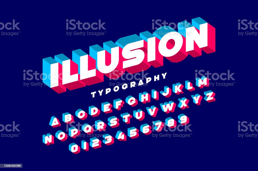 Modern bold 3d font vector art illustration