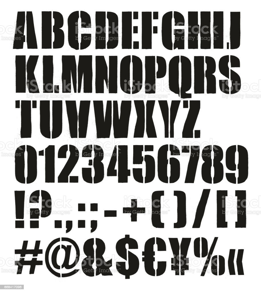 Uppercase LETTER and Numbers Stencil