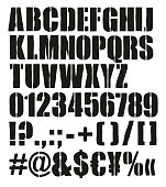 Modern Bold Crate Stencil Vector Font with Uppercase Letters, Numbers & Signs