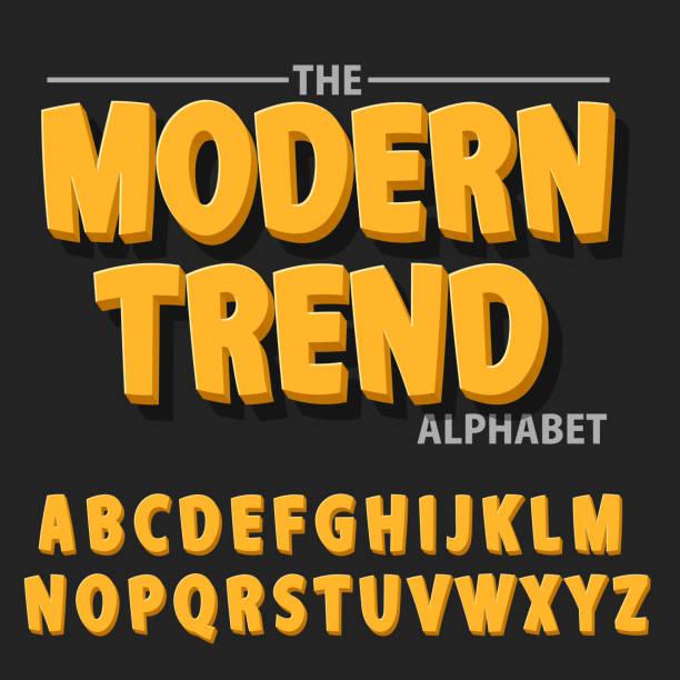 illustrations, cliparts, dessins animés et icônes de caractères gras moderne et alphabet, polices avec shadow. - polices de bande dessinée