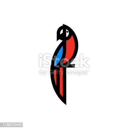 Modern bold line icon or logo template of macaw parrot sitting on branch