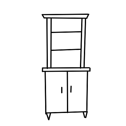 Modern bookcase, made in the style of Doodle. Collection of cabinets isolated on a white background. Furniture and decorative elements for interiors.Hand-drawn vector illustration.