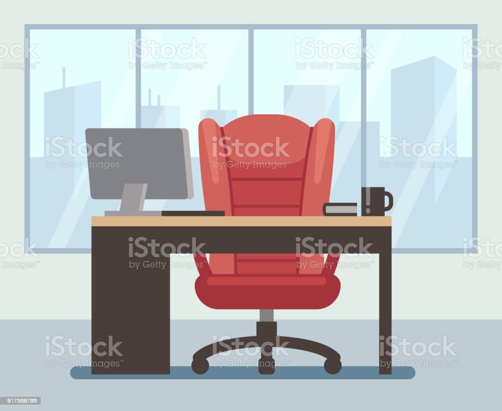 Salle de patron moderne avec grande fenêtre et portable sur le