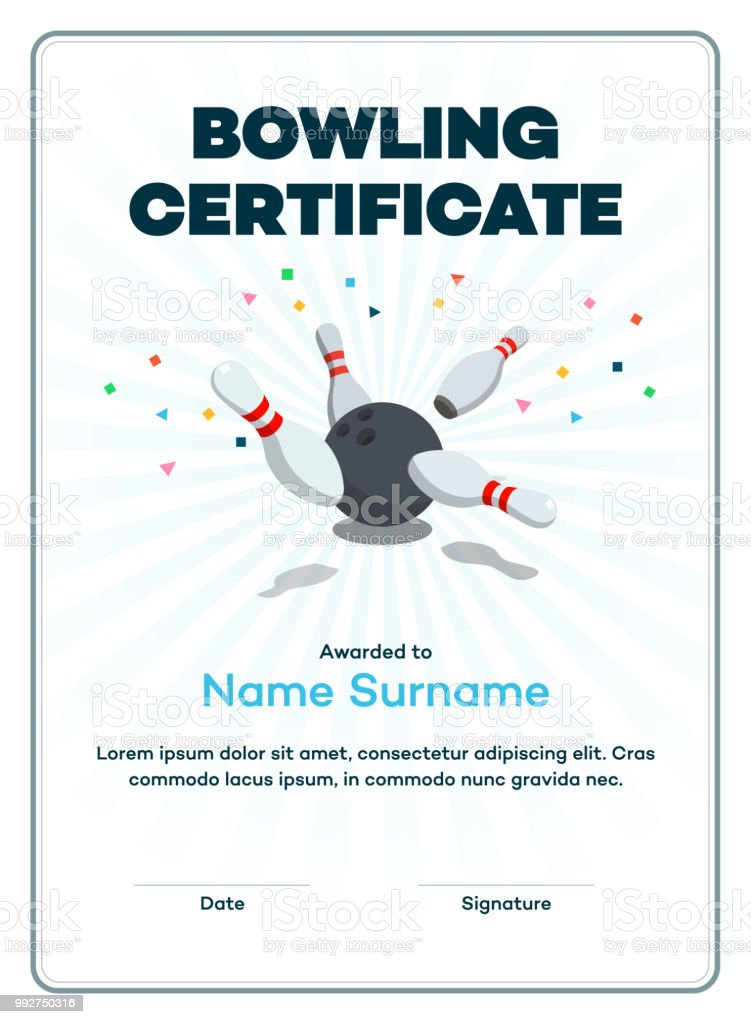 Modern bowling certificate with place for your content, scattered skittle and bowling ball