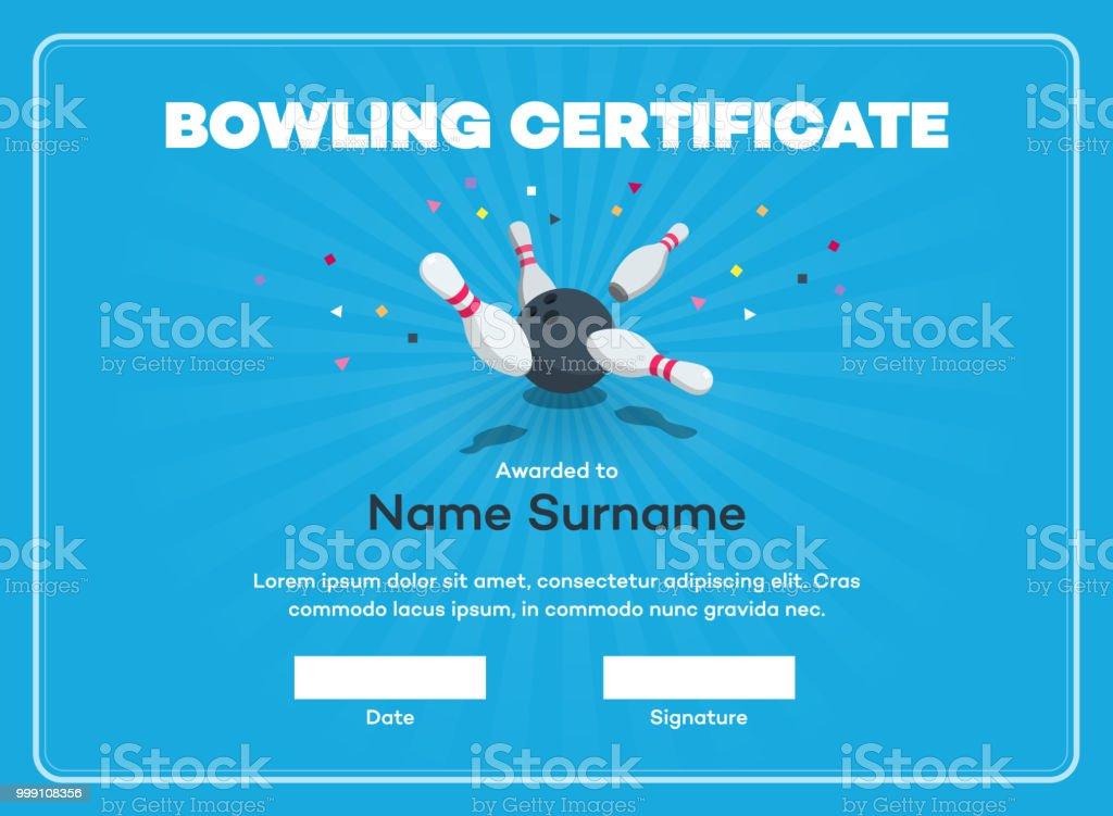 Modern bowling certificate with place for your content