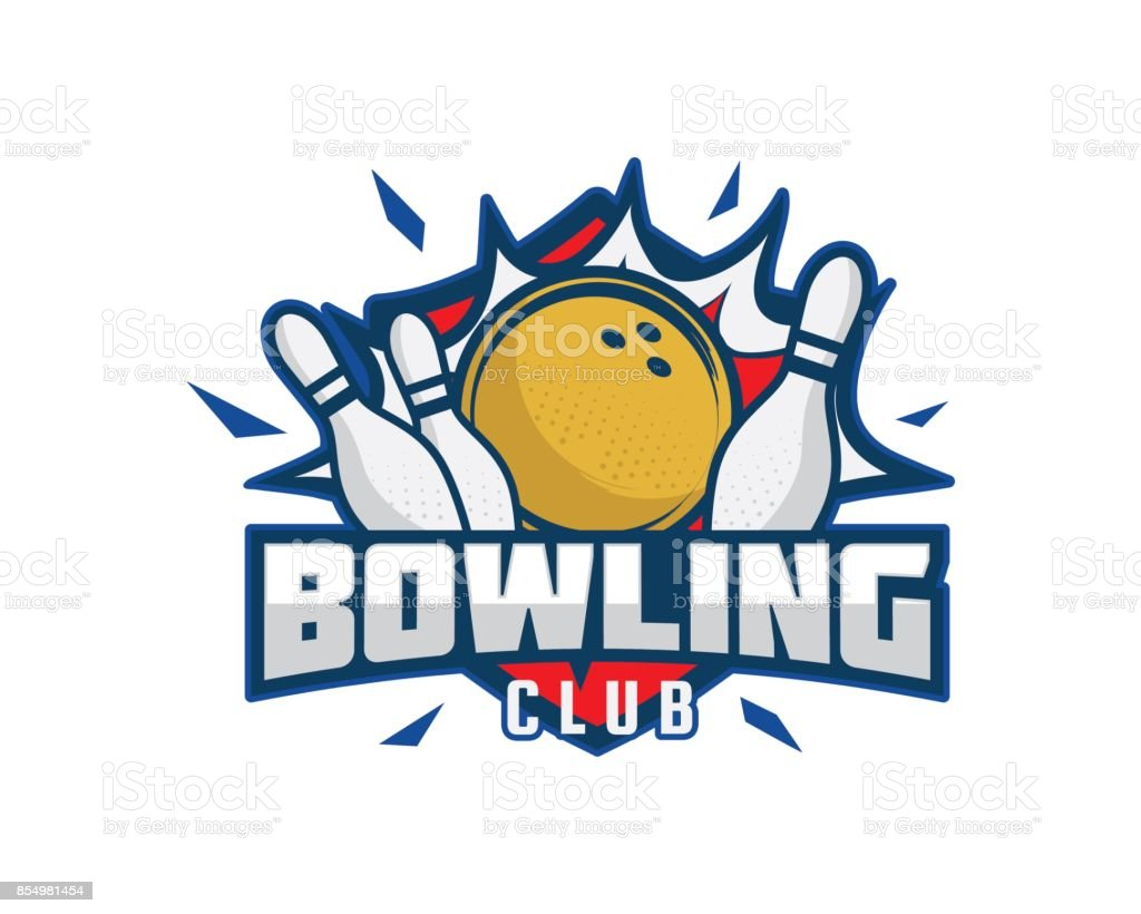 Moderne Bowling Club Association Emblem Illustration – Vektorgrafik