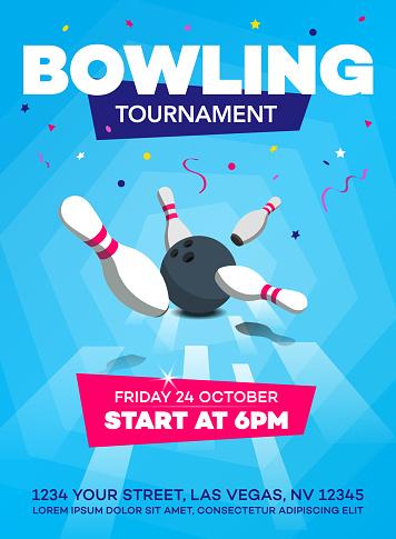 Modern bowling tournament poster invitation template - blue version