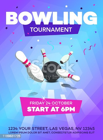 Modern bowling tournament poster invitation template with scattered skittles and bowling ball.