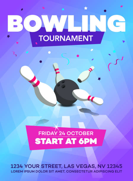 Modern bowling tournament poster invitation template Modern bowling tournament poster invitation template with scattered skittles and bowling ball. ten pin bowling stock illustrations