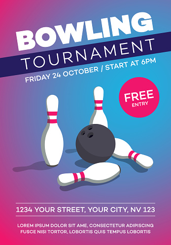Modern bowling tournament poster invitation template