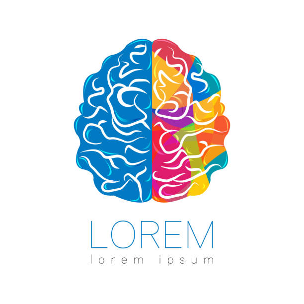 Modern Brain Sign. Human. Creative style. Icon in vector. Design concept. Brand company. Rainbow bright left right color isolated on white background. Symbol for web, print, card vector art illustration