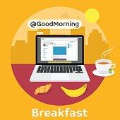 Modern breakfast - Reading the morning news
