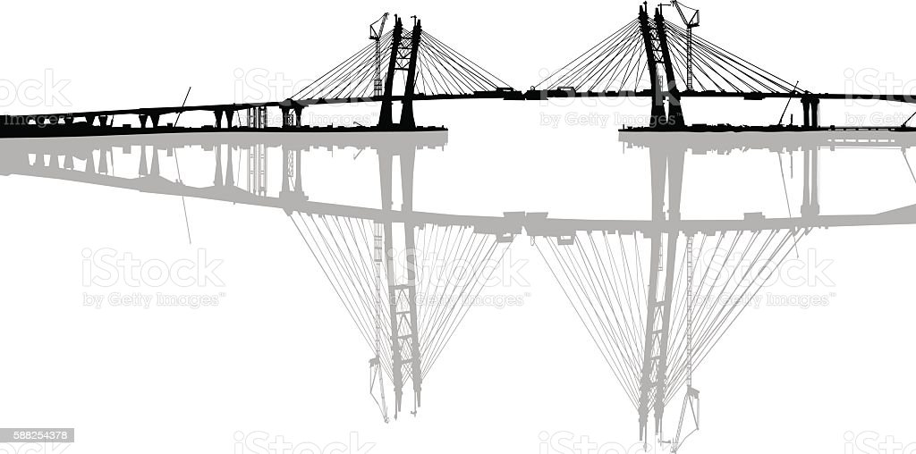 Modern bridge on white vector art illustration