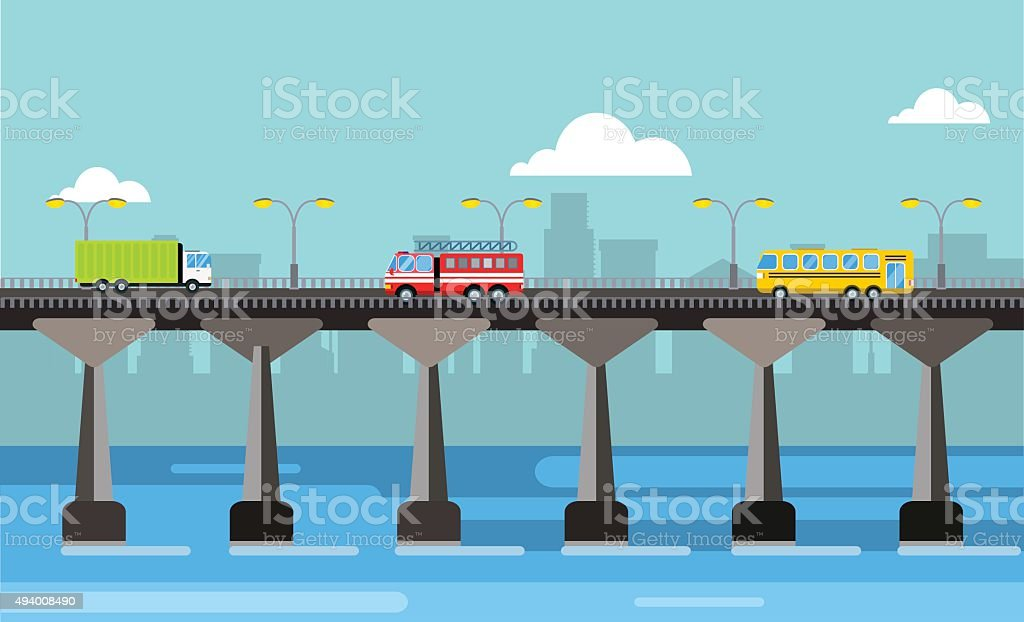 Modern bridge vector illustration city night view vector art illustration