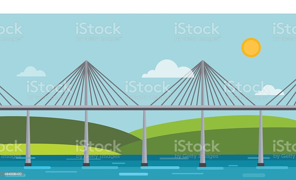 Modern bridge vector illustration vector art illustration